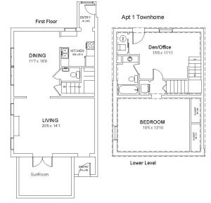Apt 1 - One Bedroom Plus, 1.5 Bath Townhome