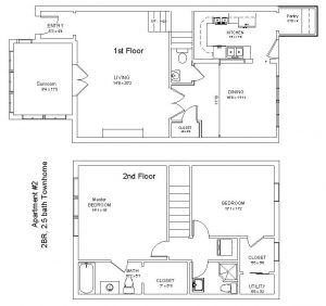 Apt 2 - 2 Bedroom 2.5 Bath Townhome