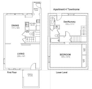 Apt 4 - One Bedroom Plus, 1.5 Bath Townhome
