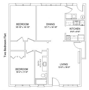 Apartments 5-8 - 2 Bedroom, 1 Bath Flat